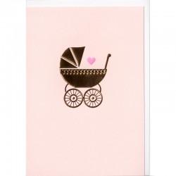 Grußkarte - Baby Gold, rosa