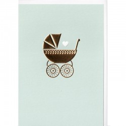 Grußkarte - Baby Gold, blau