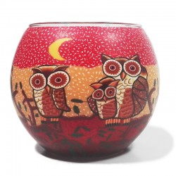 Leuchtglas - Owl rot 594
