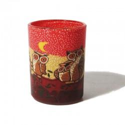 Leuchtglas klein - Owl rot 594